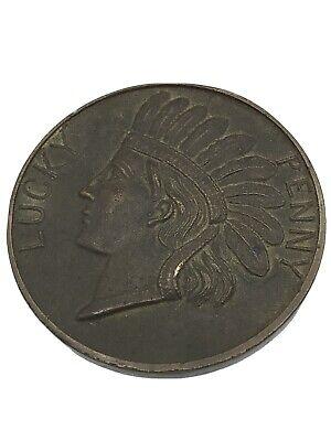 "Large Lucky Penny ""Indian Head"" Souvenir Of Port Arthur Texas 2.75"" Ships Free"