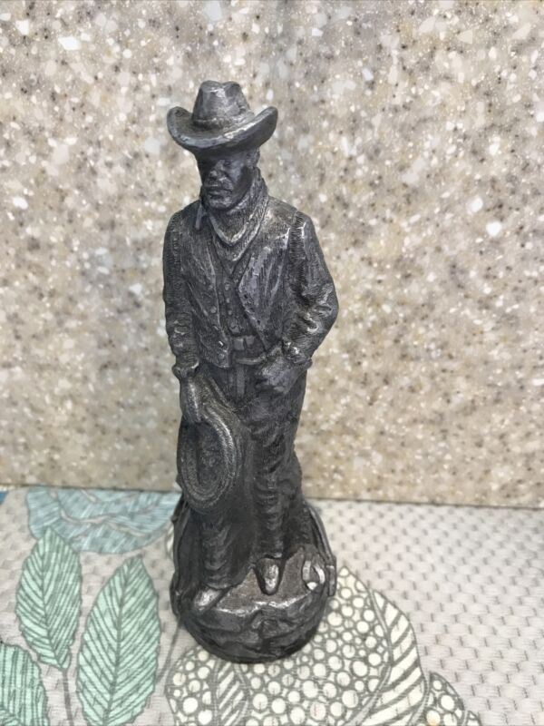 STETSON COWBOY STATUE * 6 1/4 TALL * PEWTER COLORED * COWBOY FIGURINE *