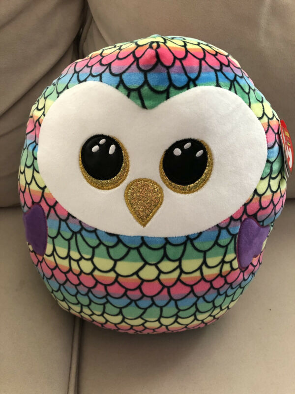 """Owen Owl Squish a Boo pillow Ty large 14"""""""