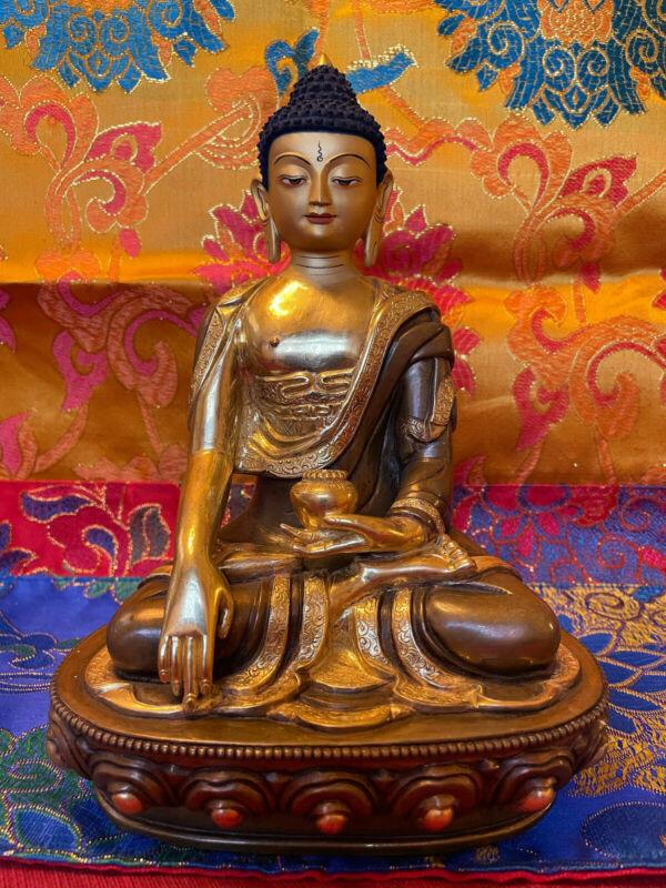 "Exquisite 8""Brass/ Gilt Painted Tibetan Buddha Statues, Stupa, Altar Cloth/ more"