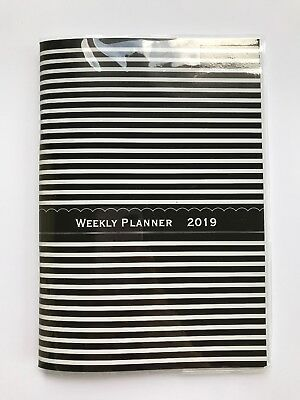 2019 Black Stripes Weekly Day Planner Appointment Book Calender Organizer 5x8