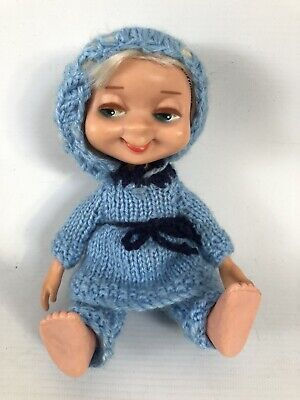 "Vintage 1960's AMERICAN CHARACTER Small Doll 8"" Hand Knitted Outfit Blonde Hair"