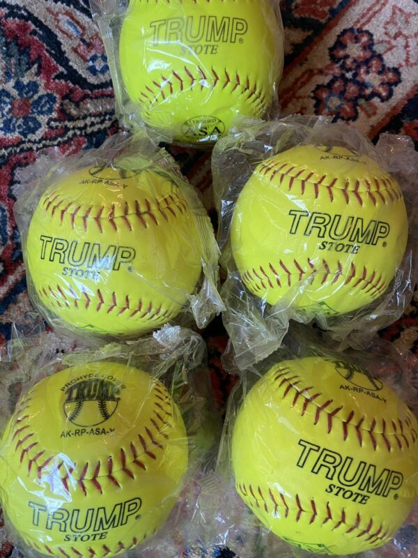 "Lot Of 5 Brand New Trump Stote 12"" Softballs Sealed In Bags Yellow ASA Certified"
