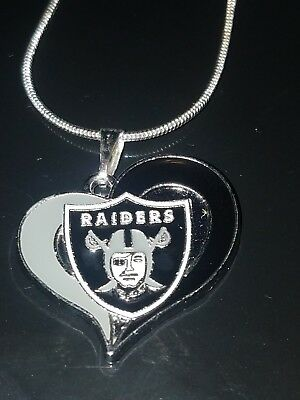 Oakland Raiders Heart Pendant Necklace Sterling Silver Chain NFL - Raiders Necklace