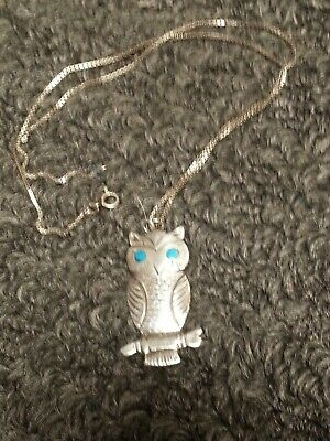 60s -70s Jewelry – Necklaces, Earrings, Rings, Bracelets Vintage Costume Jewelry Necklace w/ Silver Owl Pendant & Turquoise eyes 1960s $9.99 AT vintagedancer.com