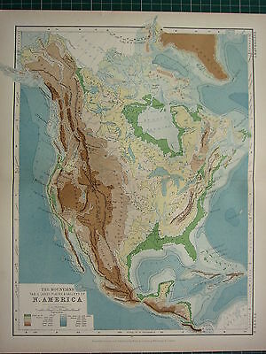 1892 VICTORIAN MAP ~ NORTH AMERICA PHYSICAL MOUNTAINS TABLE LANDS PLAINS VALLEYS