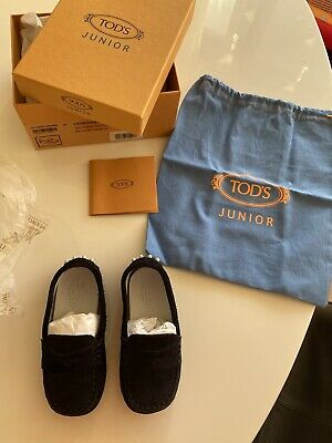 Tod's Junior Navy Blue Suede Moccasin 22 Kids Driver Grip Shoes