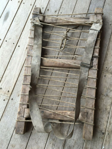 ANTIQUE WOOD CANVAS ROPE BACKPACK PACK VERY OLD