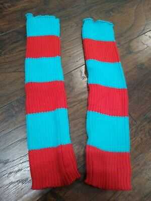 Thing 1 Thing 2 Leg Warmers Dr Seuss cat hat costume spirit Halloween socks red