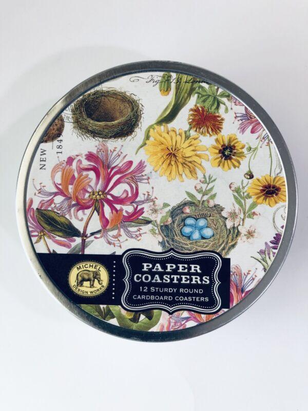 Michel Design Works 12 Paper Coasters Honeysuckle Floral Nest Nature