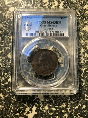 1896 Great Britain 1/2 Half Penny PCGS MS63 Brown Lot#G718 Choice UNC!