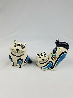 Vtg Vicman Mexican Folk Art pottery Tonalá hand painted cat figurine set of 2