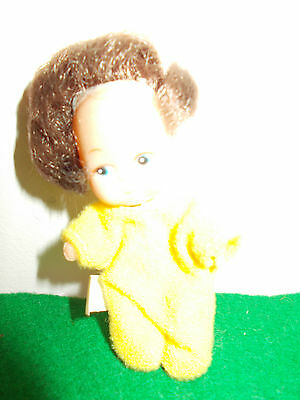 "Vintage  3"" Plastic Baby Doll in Pretty Yellow Outfit , Made In Hong Kong"