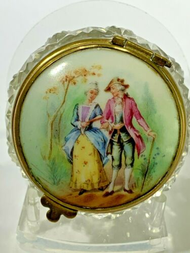 """Antique French Hand Painted Porcelain Top """"Lovers"""" Trinket Box Crystal Baccarat"""