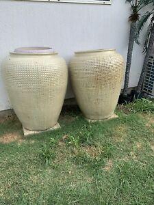 Matching pair huge decorator pots