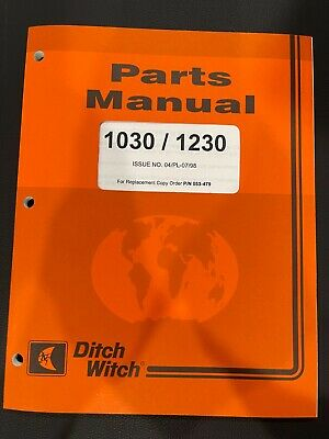 Ditch Witch 1030 1230 Trencher Parts Manual