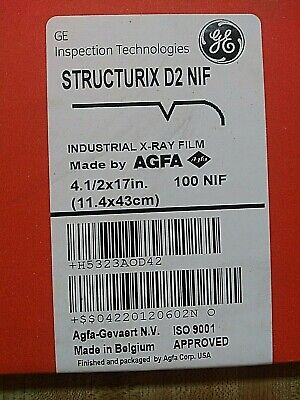 Ge Structurix D2 Agfa 100 Nif Industrial X-ray Film 11.4x43cm  4.5x17in