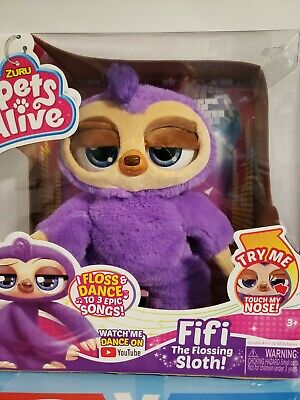 NIB Pets Alive Fifi the Flossing Sloth Battery-Powered Robotic Toy by ZURU