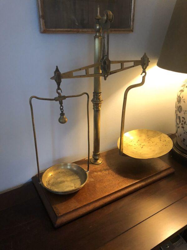 antique brass balance scale