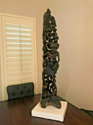 "STUNNING Ebony Makonde Tree of Life Sculpture. African Family Tree. HUGE 42"""