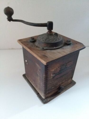 Antique Early 1900s Delmar Coffee Grinder WWI-era Moving Parts w/ Drawer