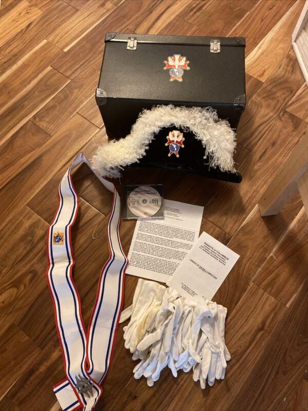 Knights Of Columbus Of 4th Degree Regalia Ostrich Chapeau Hat, Sash, Box & Dvd