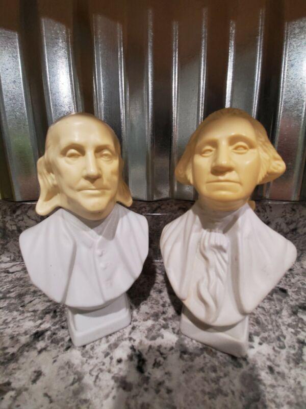 Lot Of 2 Vintage Avon President Bust Bottle / Decanter Washington And Franklin