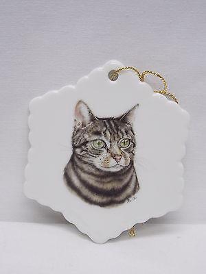 Black,Gray,White Tabby Cat 3 In Snowflake Porcelain Christmas Tree Ornament