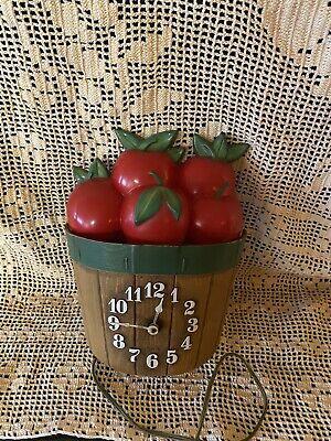Vintage Spartus Basket Of Apples Retro Kitchen Wall Clock Electric
