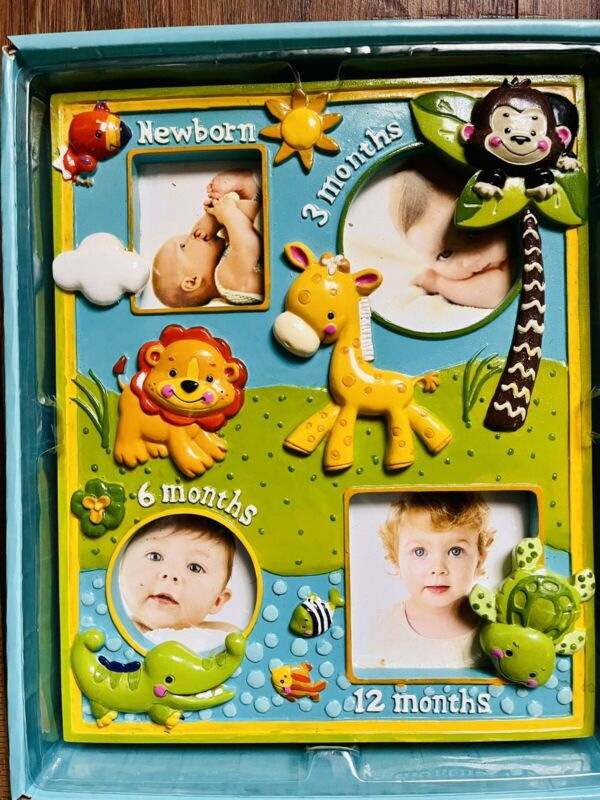 Cute Fisher Price Newborn To 12 Month Milestone Picture Frame Animals Baby Pics