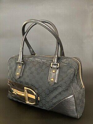 Authentic vintage Gucci gg Hasler canvas/blk leather horsebit hand/shoulder bag