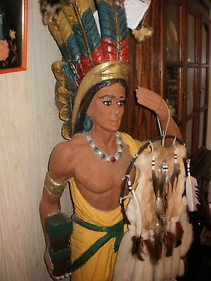 ANTIQUE 6~Foot from base to top of feathers CIGAR STORE WOODEN INDIAN Sculpture