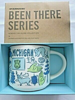 Starbucks Coffee 14oz Been There Series Mug MICHIGAN Cup w/SKU