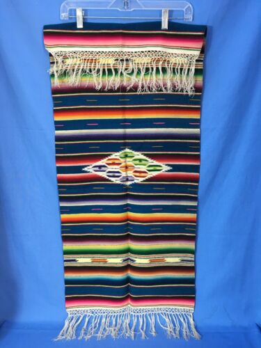 "VTG Antique Mexican Southwestern Saltillo Serape Table Runner 17-3/4"" x 46-1/2"""