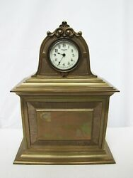 Rare Antique New Haven Solid Brass Case Shelf Mantel Clock