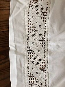 Antique single sheet with crocheted lace