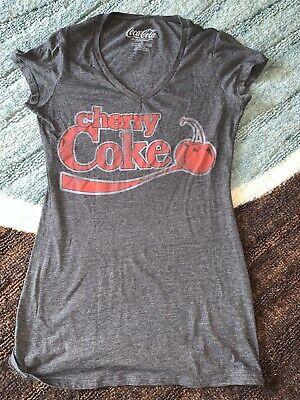 Coca Cola dark Gray Women's T-Shirt Cherry Coke Sz Med M Top V Neck Shirt