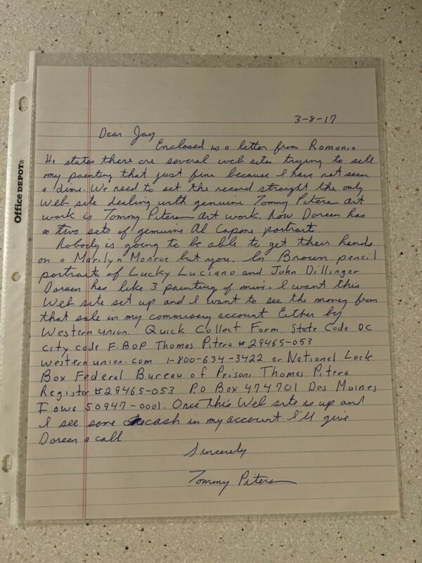 Incredible Tommy Karate Pitera Mafia Gangster Mob 5x Signed Handwritten Letter