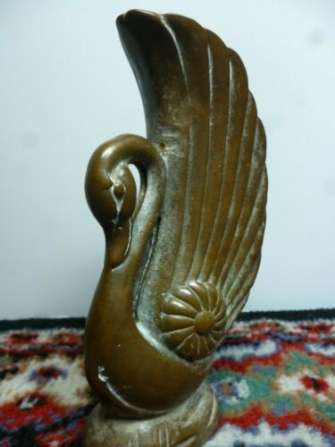 VINTAGE  VERY OLD  ANTIQUE ART DECO BRASS BRONZE SWAN VASE THE -REAL McCOY!