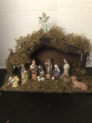 Nativity Set Porcelain Figurines Wood Stable
