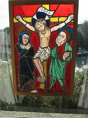 ANTIQUE LARGE STAINED GLASS CHURCH PANEL