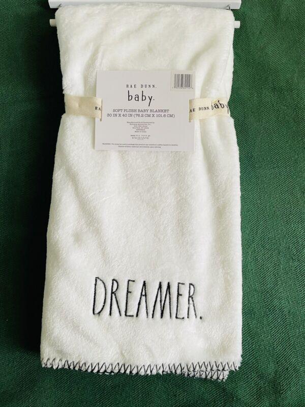 Rae Dunn Baby Dreamer Soft Plush White Embroidered Baby Blanket 30 x 40