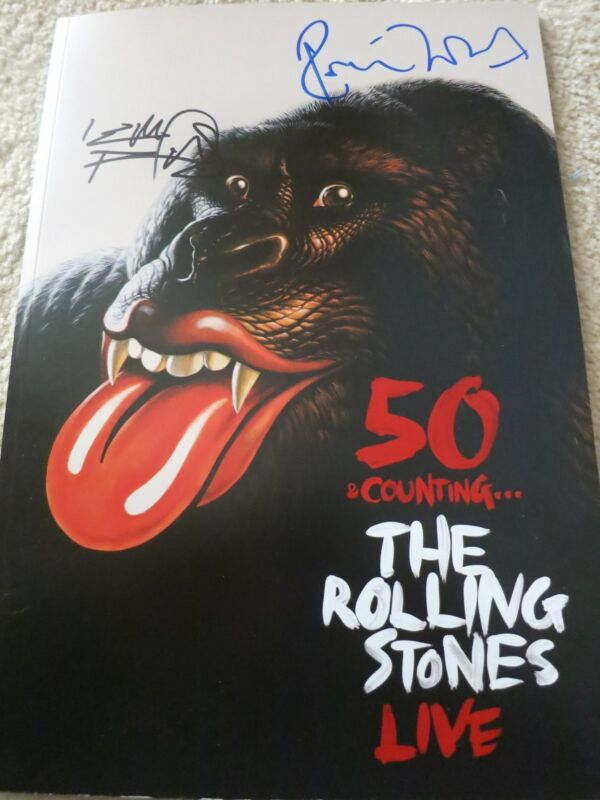 Rolling Stones Signed Program Proof + Coa! Keith Richards & Ronnie Wood 50!