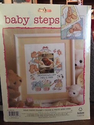 Janlynn Counted Cross Stitch Baby Birth Announcement Kit: Bear Photo Frame