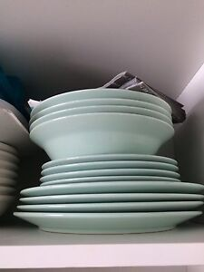 Dish ware: Mint Green Plates, White Bowls, Wine Glasses