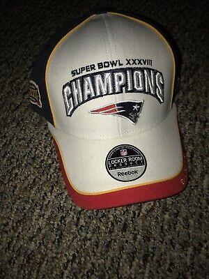 8bd814188bcc2 New England Patriots Reebok XXXVIII Super Bowl Champions Locker Room Hat Cap