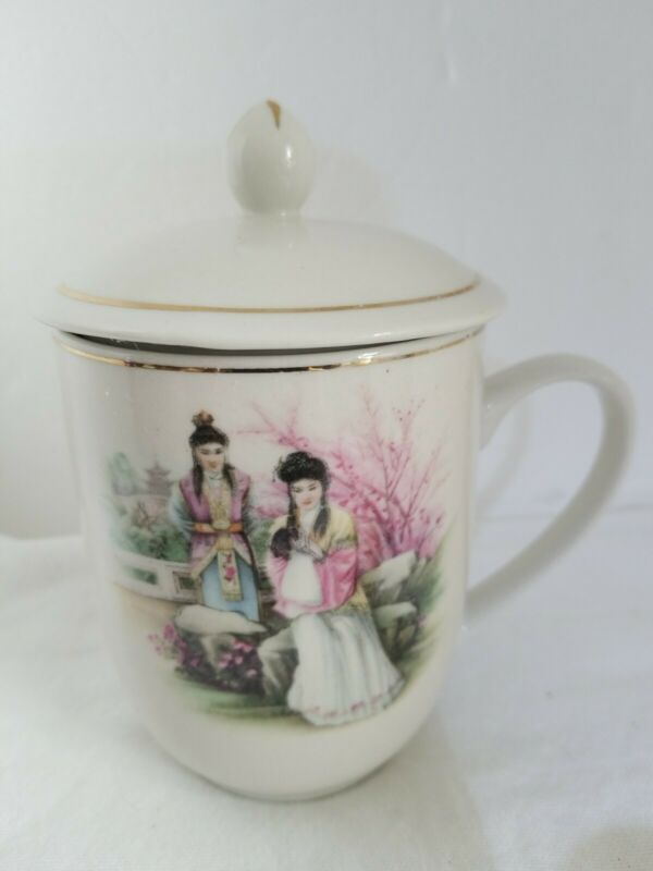 Vintage Porcelain Chinese Tea Mug Cup with Lid Hand Painted Gilt with Ladies
