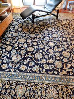 Large Rug  Authentic Persian Kashan antique  midnight blue