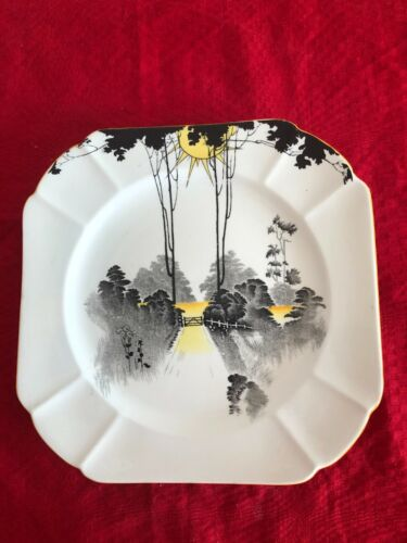 """Shelley Dinner Plate """"Sunrise and Tall Trees"""" : Pattern 11678 pristine condition"""