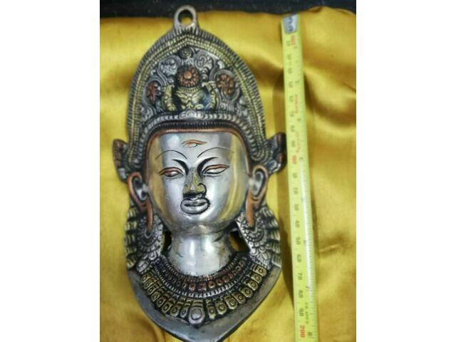 Old Ancient Tibet Collect Buddhism Bronze Green Tara Buddha Head Mask Statue C